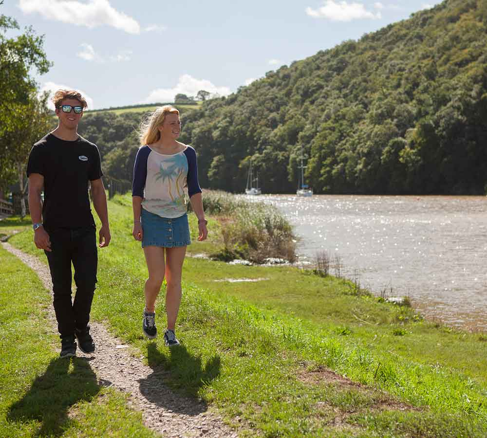 Couple walking at Calstock