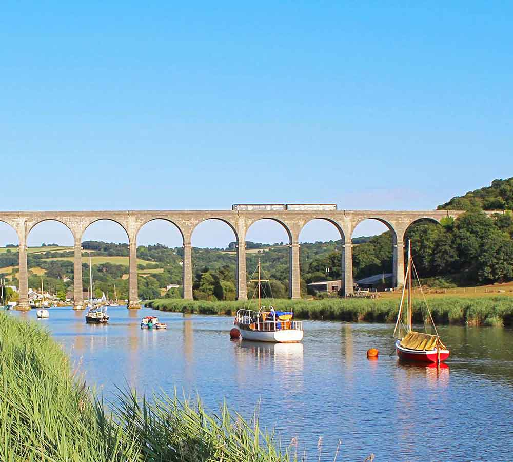 Calstock viaduct with train and boats