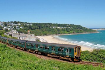 Carbis Bay with train in foreground - photo: Mark Lynam