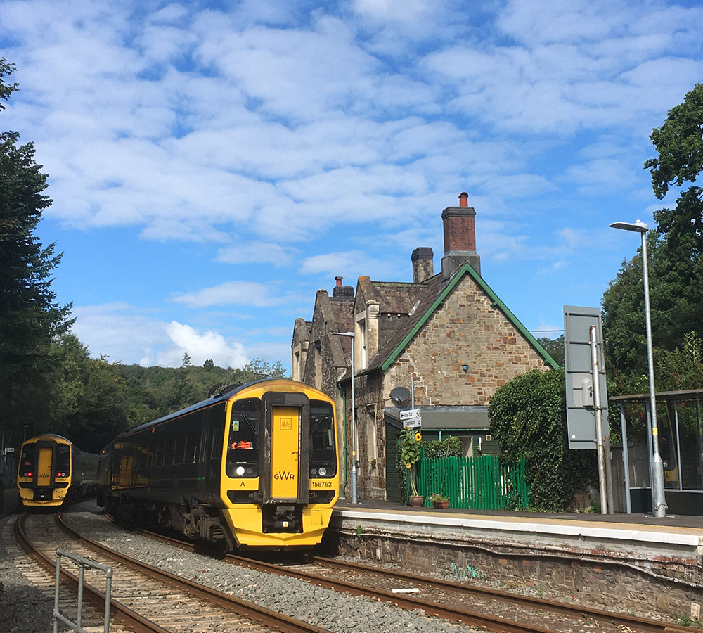 Trains at Eggesford station