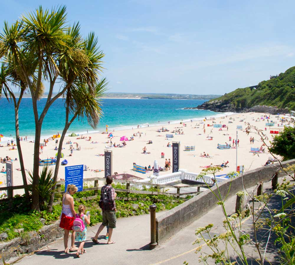 Family walk down to Porthminster Beach, St Ives