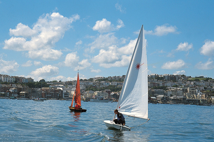 Boats on the water with Falmouth in the background