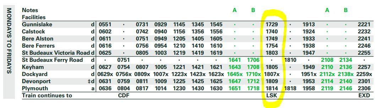 Gunnislake to Plymouth timetable screenshot - click for PDF version
