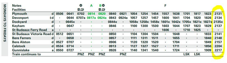 Plymouth to Gunnislake timetable screenshot - click for PDF version