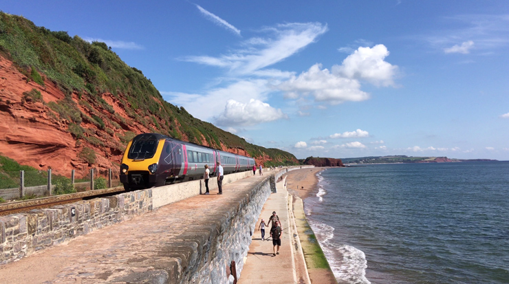 CrossCountry train on the sea wall at Dawlish