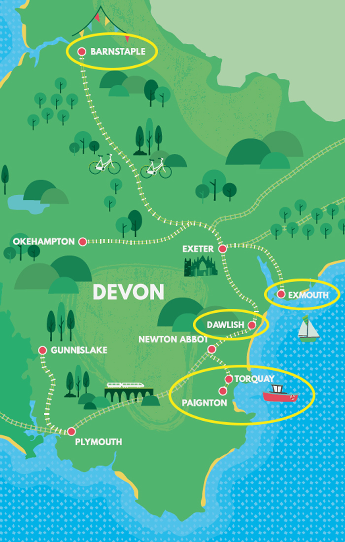 Devon rail network map