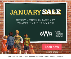 GWR January Sale - Hurry ends 19 January 2018. Travel until 28 March 2019. Book now. Terms apply.