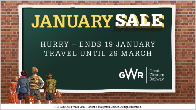 Great Western Railway January Sale - Hurry, ends 19 January. Travel until 29 March