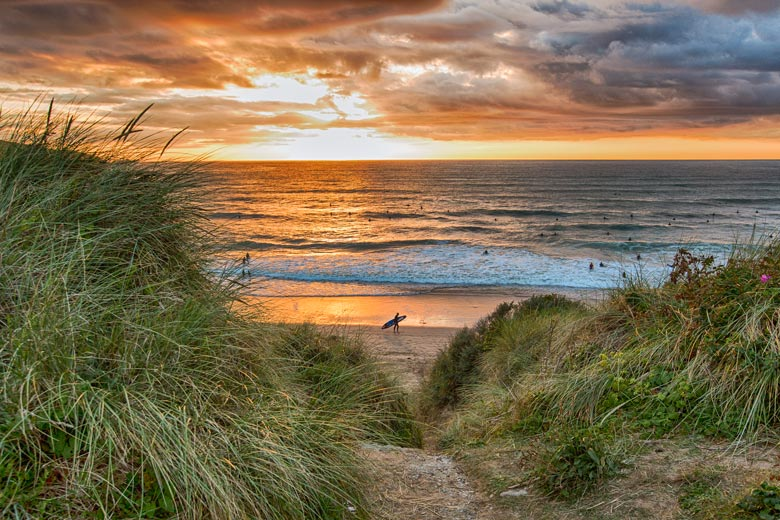 Sunset on the beach in Newquay - photo copyright Newquay BID