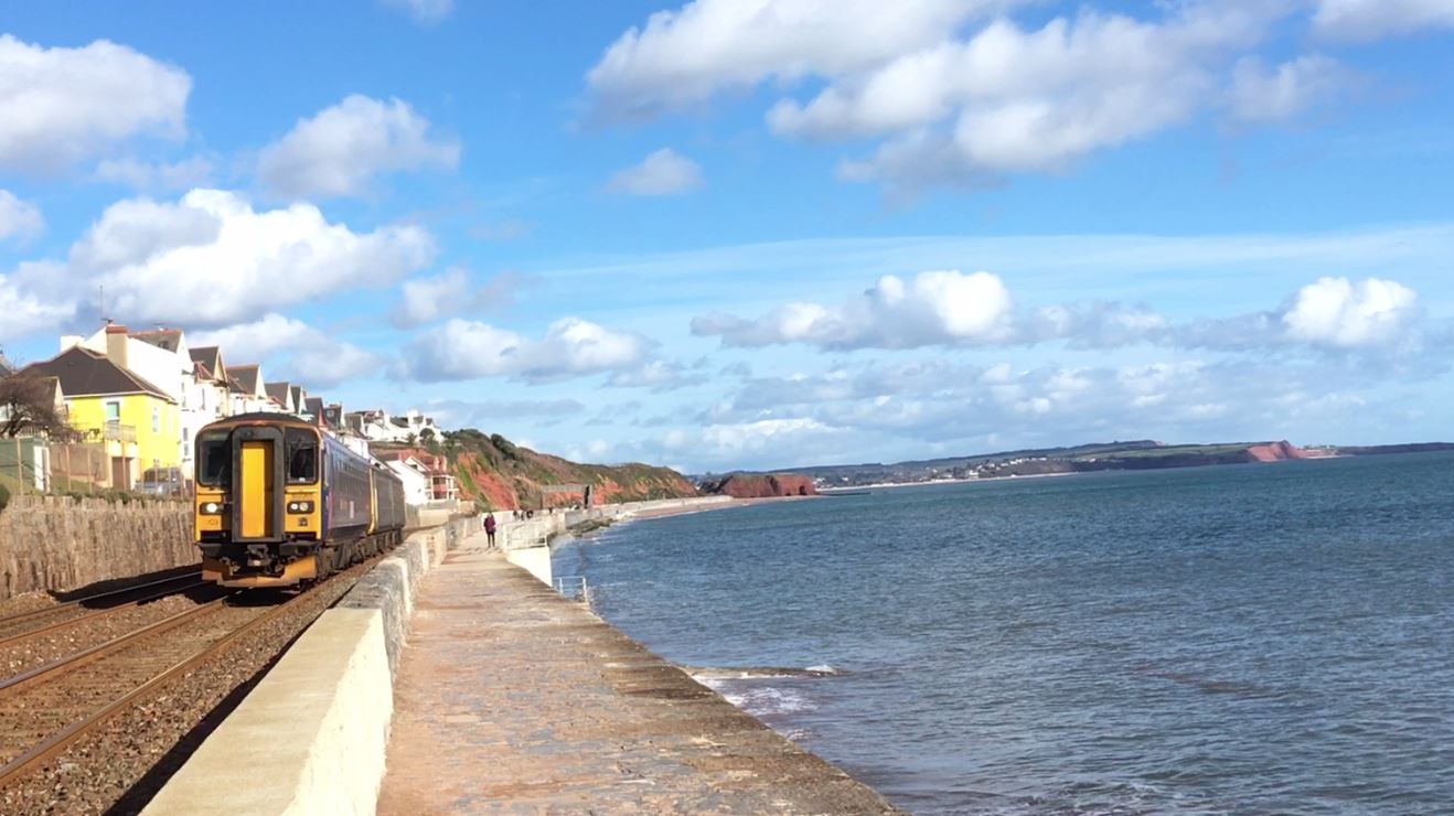 Train on the coastal route at Dawlish