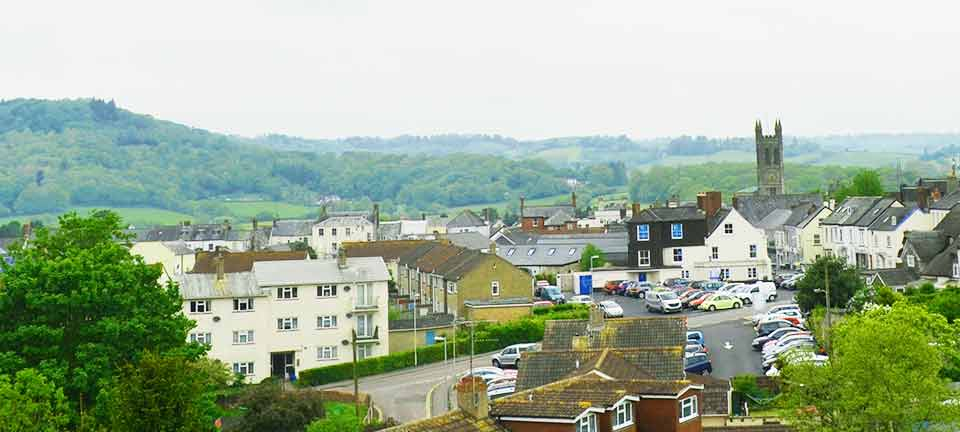 Honiton as seen from the railway station passenger bridge
