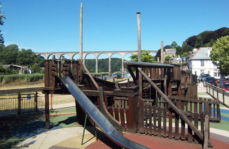 Playground with Calstock viaduct in background
