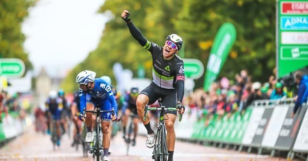 Cyclist celebrating at 2017 Tour of Britain - photo courtesy of Tour of Britain / Sweetspot