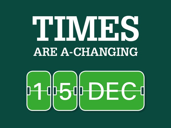 Times are a-changing 15 December