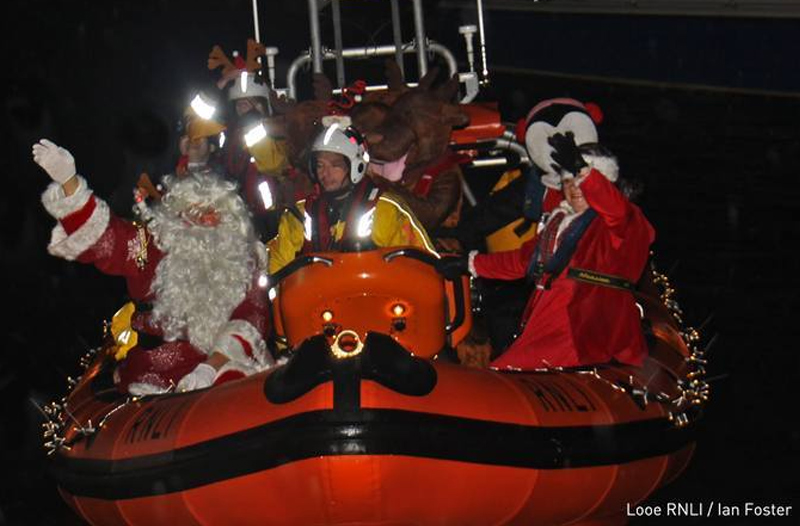 Santa in lifeboat