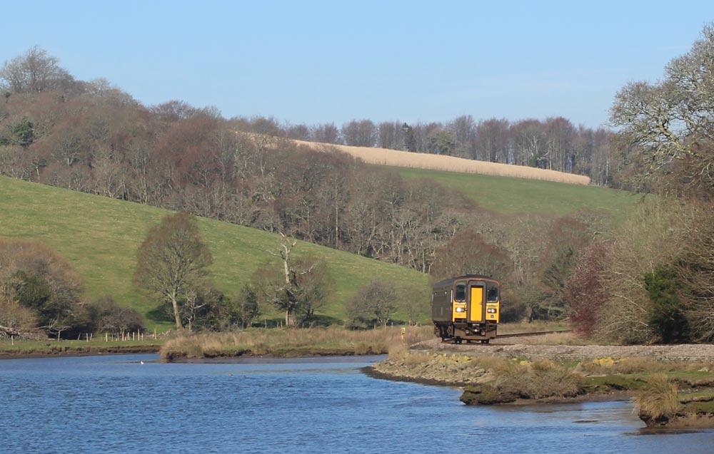 train on Looe line in winter