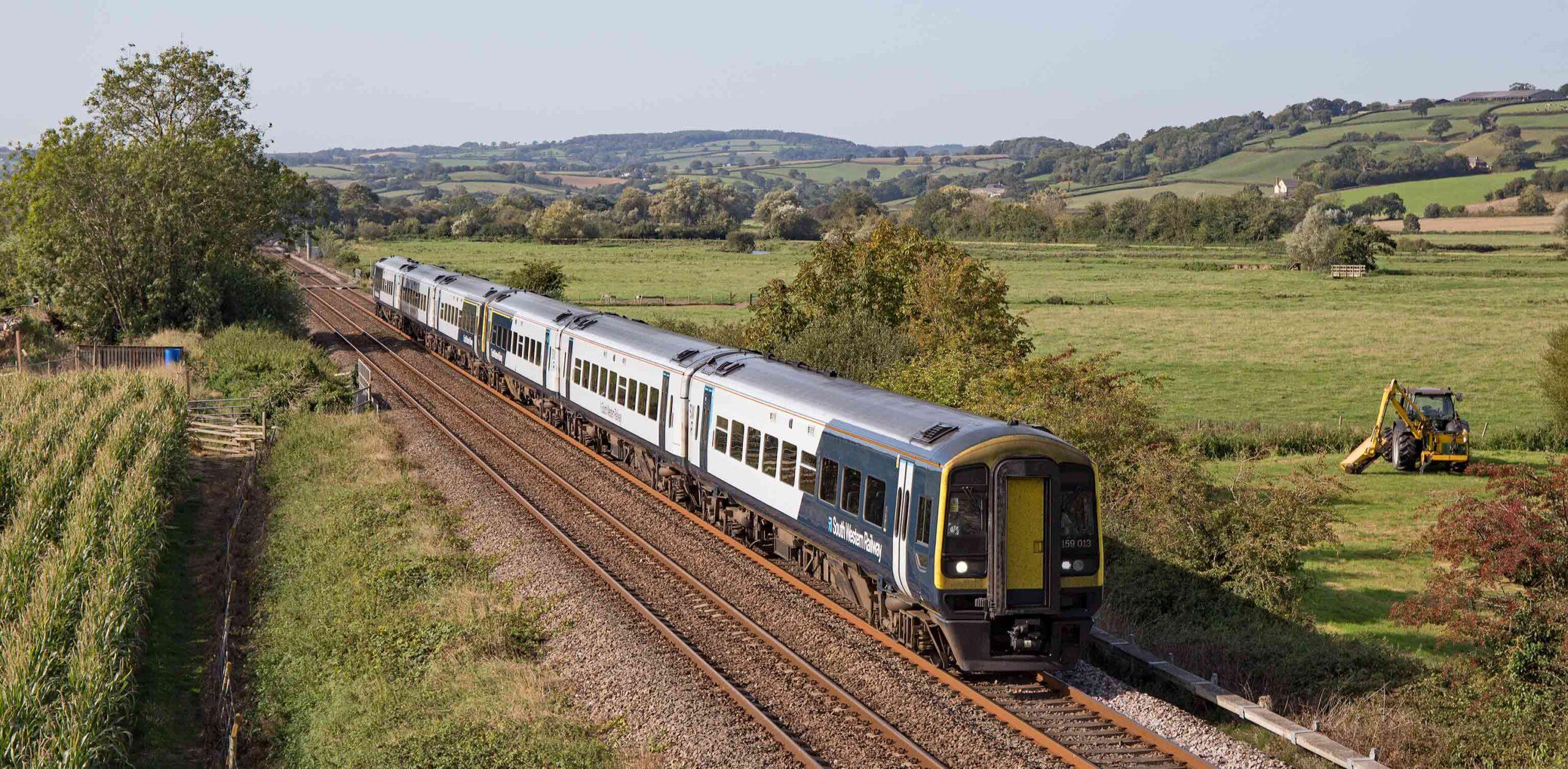 East Devon Line train in landscape