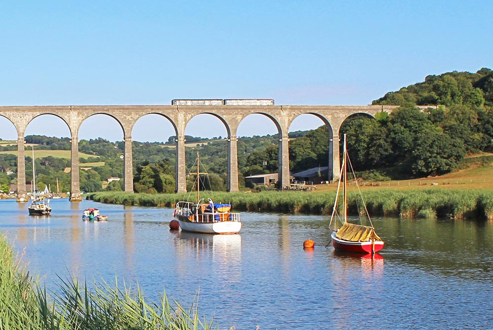Calstock viaduct and train