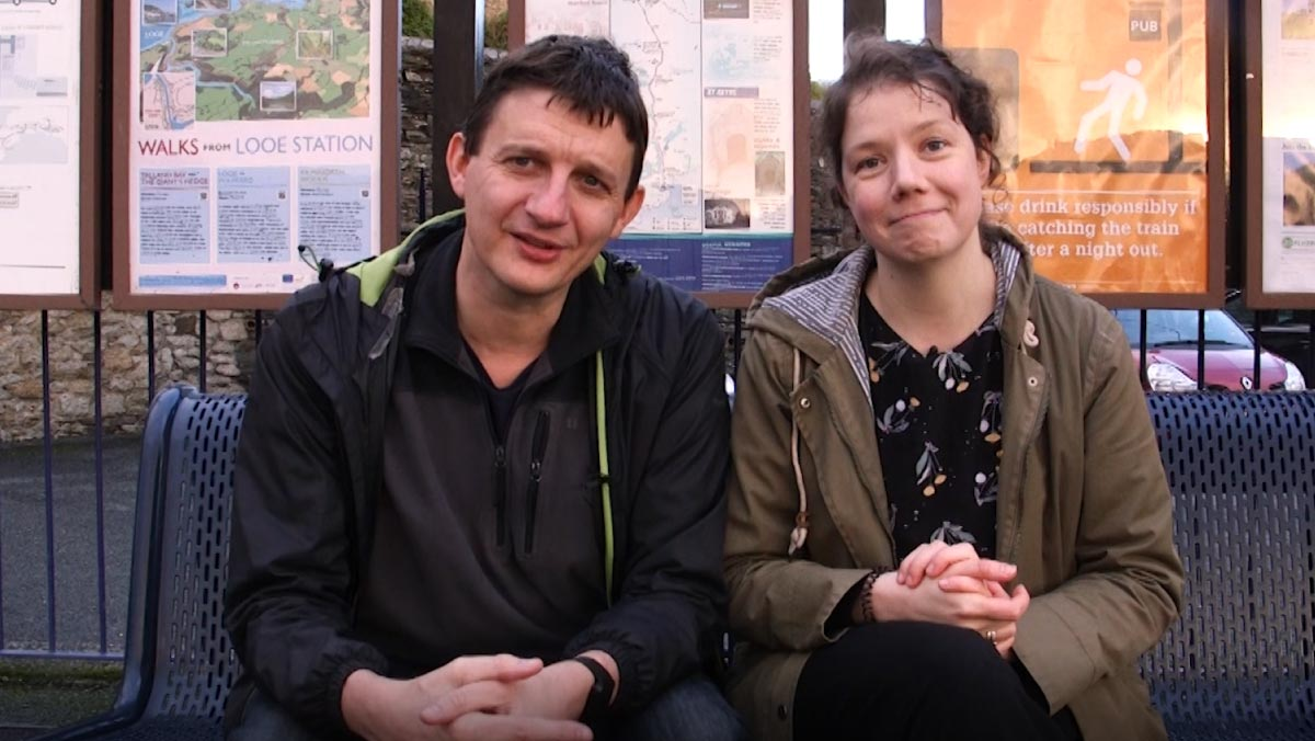 All The Stations - Geoff Marshall and Vicki Pipe at Looe station recording The Looe Valley Line Story mini-series